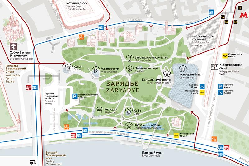 карта парка Зарядье